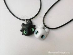 How to train your dragon NECKLACE toothless necklace and light fury necklace black and white dragon pendant dragon jewelry gifts Polymer Clay Kawaii, Polymer Clay Charms, Polymer Clay Jewelry, Bff Necklaces, Cute Necklace, Friendship Necklaces, Boho Necklace, Dragon Necklace, Dragon Jewelry