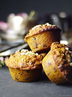 Cranberry Chocolate Chip Pumpkin Spice Muffins (Free from: gluten, dairy, eggs, oil, gums, nuts, refined sugars, and oats) Made Just Right. Plant Based. Earth Balance.