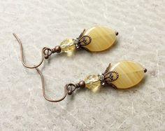 Gele oorbellen topaas oorbellen koperen oorbellen door SmockandStone