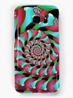 Archimedes' Magenta & Teal Tangent Samsung Galaxy Cases & Skins by Terrella.  A pattern of spirals reminiscent of Archimedes' Screw, almost intertwining spirals, of magenta and teal with accents of cyan, pink and green. • Also buy this artwork on phone cases, apparel, home decor, and more.