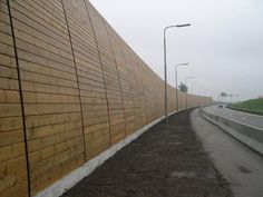 Concrete noise barrier wall with integrated planting. Description from pinterest.com. I searched for this on bing.com/images Landscape Structure, Landscape Architecture, Interior Architecture, Interior Design, Fence Gate, Fences, Acoustic Barrier, Sound Wall, San Junipero