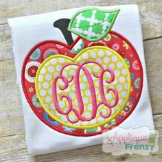 Apple Monogram Center Applique - 4 Sizes! | What's New | Machine Embroidery Designs | SWAKembroidery.com Applique Frenzy