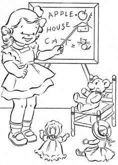 Children Playing School Coloring Book