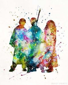 Harry and Hermione and Ron Harry Potter Watercolor Print Prices from 995 Available at Harry Potter Poster, Arte Do Harry Potter, Harry Potter Spells, Harry Potter Facts, Harry Potter Quotes, Harry Potter World, Harry And Hermione, Ron And Harry, Harry Harry