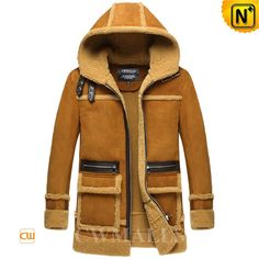 Designer Sheepskin Shearling Hooded Coat CW858358 Stylish fashion sheepskin coat with hood for men crafted from natural sheepskin with fur shearling, keep you warm during winter's worst, designer men's sheepskin shearling coat featuring with buckled leather straps on collar, shearling trim flap pockets. www.cwmalls.com PayPal Available (Price: $1887.89) Email:sales@cwmalls.com