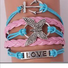 Adjustable bracelet Hot fashion infinity love butterfly anchor leather charm bracelet plated sliver Jewelry Bracelets