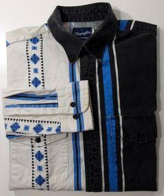 Wrangler western shirts L button down front black blue white distressed stripe diamond long sleeve mens vintage by AmazingTasteVintage on Etsy
