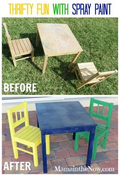 Thrifty Fun with Spray Paint. Directions inside!  Before and After I went to town on this IKEA kids table and chairs. It's perfect for our LEGO themed play room.