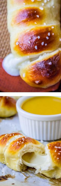 Mozzarella-Stuffed Soft Pretzels! Like a Pretzel Dog, but with mozzarella cheese. Perfect for dipping in honey-mustard sauce!