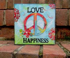 Hippie Decor Peace Sign Wall Art Wood Block Wood Panel Teen Tween Art Print Wood Mounted Art Inspirational Message Art Print Love Happiness