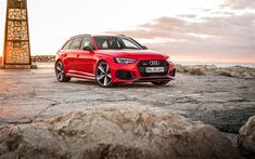 Download wallpapers Audi RS4 Avant, 2017, 4k, red station wagon, new cars, tuning A4, Audi
