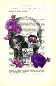 skull print with roses purple roses dictionary by MadameMemento