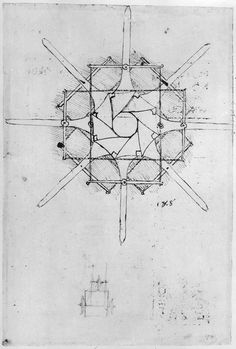Design for a folding Capstan handle, Fol. 376v-c (pen and ink on paper) by Leonardo da Vinci from Private Collection