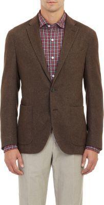 $919, Dark Brown Wool Blazer: Boglioli Birdseye Sportcoat. Sold by Barneys Warehouse. Click for more info: http://lookastic.com/men/shop_items/208211/redirect