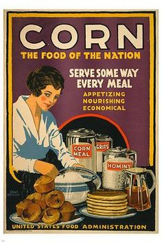 vintage ad poster CORN, THE FOOD OF THE NATION 24X36 hot NEW rare!