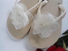 Ivory Bridal flip flops Decorated Nude/Tan flip flops embellished organza flower, beach wedding flip flops, flip flops nude, wedding shoes. $38.00, via Etsy.