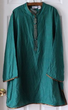 Women's SOFT SURROUNDINGS 100% Silk Top Tunic Gold Teal Peacock Plus Size 2X NWD #SoftSurroundings #Tunic #Casual