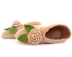 Beige Slippers 100 Percent Fine Merino Wool  MADE TO by Yanettine