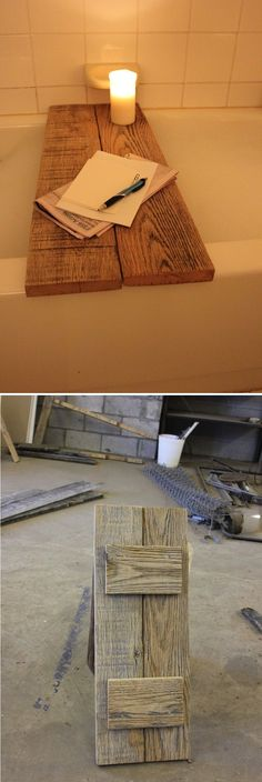 Ways To Use That Room Below Your Stairs Bubble Time: Diy Reclaimed Oak Bathtub Caddy - Let Alan Know I Found Projects Linda Bruinenberg Barker - It Doesn't Look Too Hard Bathtub Caddy, Bathtub Board, Bathroom Caddy, Diy Bathtub, Bathtub Tray, Bathtub Shower, Palette Deco, Decoration Inspiration, Style Inspiration