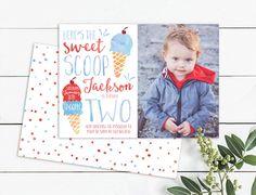 Ice Cream Photo Birthday Invitation Heres the Scoop Photo Birthday Invitations, Birthday Cards, Sweet Scoops, Ice Cream, Printables, Handmade Gifts, Frame, Etsy, Bday Cards