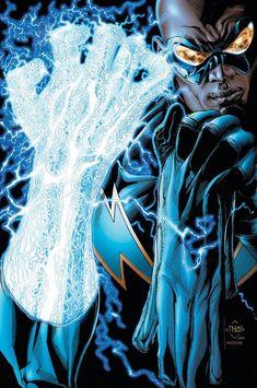 Black Lightning - Justice League of America via D.C comics Dc Heroes, Comic Book Heroes, Comic Books Art, Comic Art, Dc Comics Characters, Dc Comics Art, Marvel Dc Comics, Superman, Batman