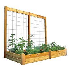 Gronomics Safe Finish Large Double Raised Garden Bed & Trellis Kit, Multicolor