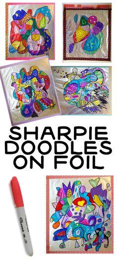 foil art projects for kids ; foil art for kids ; Sharpie Drawings, Sharpie Doodles, Art Drawings, Flower Drawings, Abstract Drawings, Tattoo Drawings, Art Sketches, Projects For Kids, Crafts For Kids