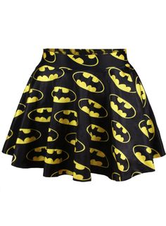 I've never wanted more to be a skinny geek! Batman Print Pleated Skirt ($16.00) at ROMWE.com