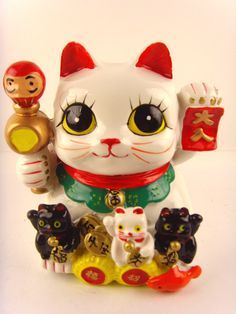 Maneki Neko Ceramic Lucky Cat Coin Bank | eBay