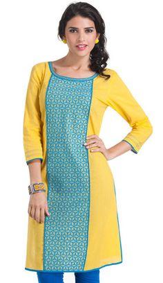 Yellow and Blue Cotton Embroidered Kurti | Naari
