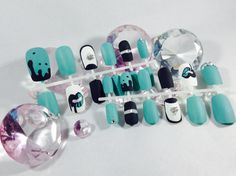 press on matte nails~matte nails~turquoise nails nails~short nails~dripping paint nails~mat nails~matt nails~nails~fake nails~false nails by DopeNailArt on Etsy