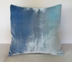 Pale gray and frosty ice blue ombre velvet cushion by Fiona Pitkin of Colorbloom, £70.00