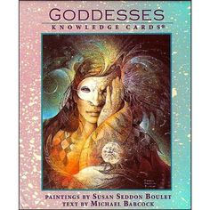 """Knowledge Cards Deck: Goddesses.  Featuring 48 paintings by Susan Seddon Boulet.  Goddess paintings on front of each card, descriptions of each goddess on the back.. 3½"""" X 4"""" size."""