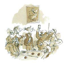 Ilustración de Quentin Blake para su obra Doña Eremita, reina de la carretera.