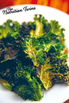 Guilt-free Kale Chips | PERFECT when you want to mindlessly munch | ONLY 36 YUMMY Calories | Kale activates liver detox system to flush out bloat& toxins | For MORE RECIPES like this please SIGN UP for our FREE NEWSLETTER www.NutritionTwins.com