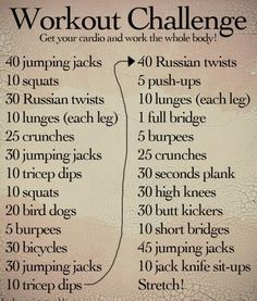 """workout challenge - like this just need to figure out what """"bird dog"""" and """"Russian twist""""s are. And I think this needs more burpees -- only 5 -- make that 20 each time and that's a workout! Fitness Herausforderungen, Fitness Motivation, Health Fitness, Fitness Online, Training Motivation, Fitness Weightloss, Workout Guide, Workout Challenge, Workout Plans"""