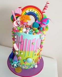 Ahhmazing Trolls Loaded Drip Cake By Little Lady Baker - Loaded Cake Ideas Trolls Birthday Party, Troll Party, Birthday Cake Girls, Rainbow Birthday, 4th Birthday, Birthday Ideas, Bolo Trolls, Trolls Cakes, Gateaux Cake
