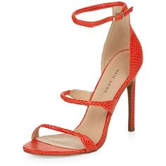 Bright Orange Triple Strap Heels ($30) ❤ liked on Polyvore featuring shoes, pumps, bright orange, strap shoes, snake skin pumps, python pumps, bright colored pumps and stiletto heel pumps