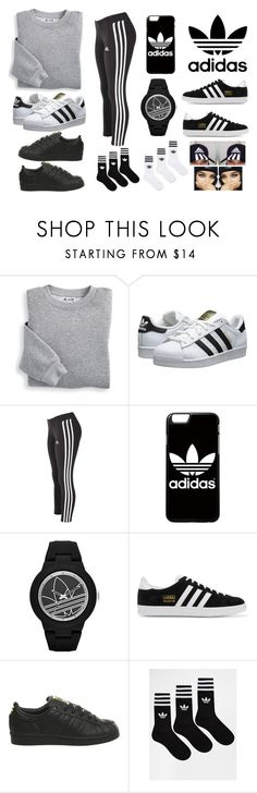 """""""i didnt know which shoes to choose"""" by sashaaxoxx ❤ liked on Polyvore featuring Blair, adidas Originals and adidas"""