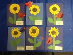 "Sunday School: a fall take on the flowers of the fields and birds of the air -- ""Do not worry!"" Matthew 6:25-30. Kids traced 2 yellow/1 brown varied size circles, cut slits for petals per their preference, add stems, leaves, birds, and verse."