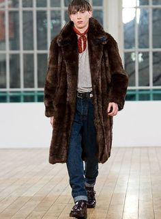 Classic 1920's Men's Raccoon Fur Long Coat | Flapper Era | MR