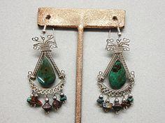 Vintage Boho Hippie Gemstone Dangling Pierced Earrings by COBAYLEY