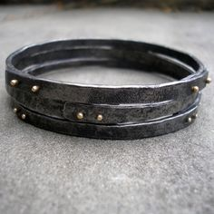 Gold and Steel Bracelets  Riveted Stacking Bangles of by lsueszabo, $450.00