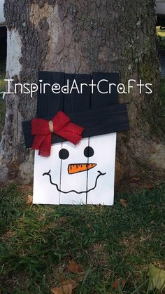 Small Wooden Reversible Scarecrow /Snowman by InspiredArtCrafts