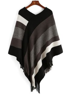 Colour Striped Tassel Loose Cape