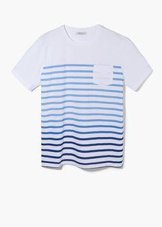 Camiseta algodón rayas degradadas