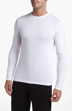 $38, White Long Sleeve T-Shirt: U1139 Micromodal Long Sleeve T Shirt by Calvin Klein. Sold by Nordstrom. Click for more info: http://lookastic.com/men/shop_items/57752/redirect