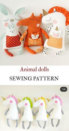 Animal Sewing Patterns, Sewing Patterns Free, Pattern Sewing, Sewing Stuffed Animals, Stuffed Animal Patterns, Unicorn Stuffed Animal, Small Sewing Projects, Sewing Projects For Beginners, Fox Pattern