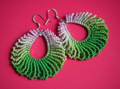 shaggy loop fringe seed bead earrings. pink and green ombre