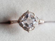 VS 7mm Morganite Ring Cushion 14K Rose Gold Morganite Wedding Ring Diamond Engagement Ring Anniversary Ring Gemstone Ring by AbbyandWills on Etsy